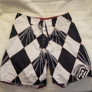 Billabong board or swim shorts checkered pattern